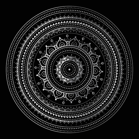 black and silver: Silver mandala on black background. Indian pattern.