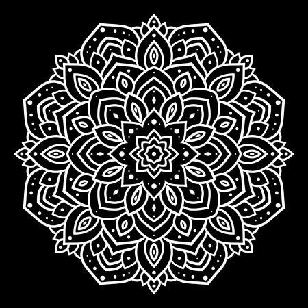 Silver mandala on black background. Indian pattern.
