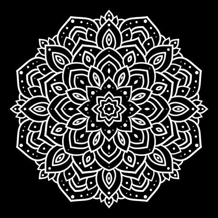 mandala flower: Silver mandala on black background. Indian pattern.