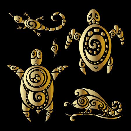 tribales: Tortuga y lagartos. Patrón tribal. Ilustración polinesio estilo del tatuaje.