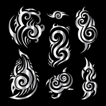 Polynesian tattoo. Tribal pattern set Vector illustration.