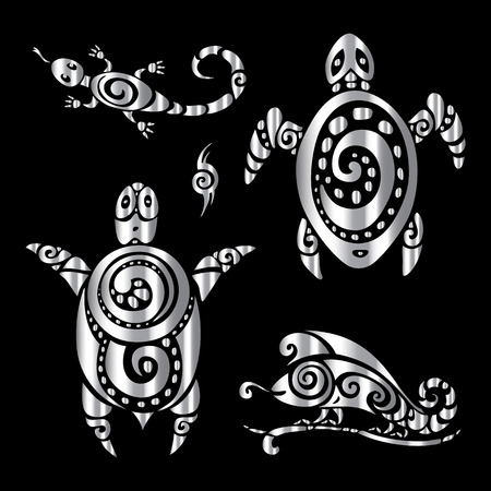 silver texture: Turtle and Lizards. Tribal pattern Polynesian tattoo style illustration.