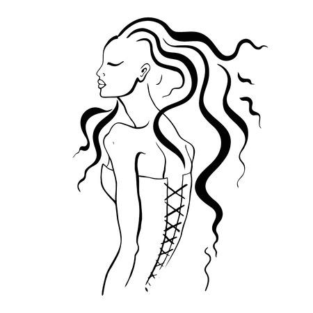 siluetas mujeres: Retrato de mujer hermosa Vectores