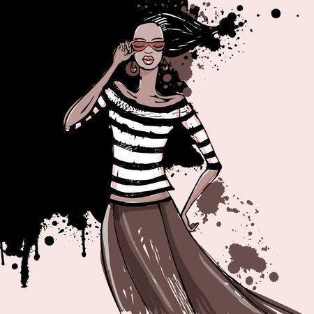 face female: Fashion model Sketch illustration