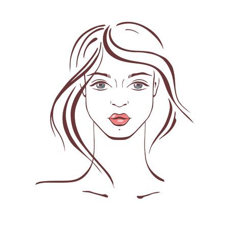 curly hair model: Beautiful Woman Portrait Hand drawn fashion illustration