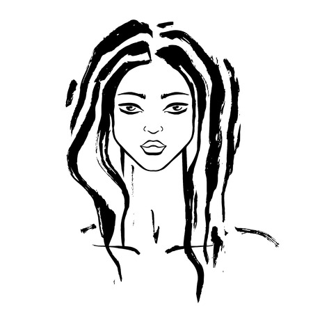 Beautiful Woman Portrait Hand drawn fashion illustration