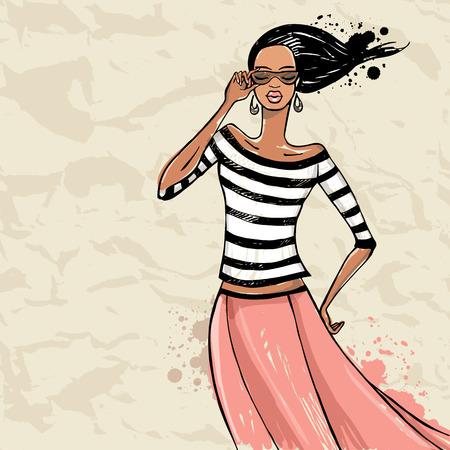 Beautiful woman. Fashion model Sketch Vector illustration.