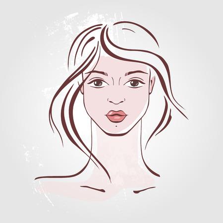 fashion portrait: Beautiful Woman Portrait. Hand drawn fashion illustration.