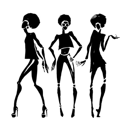 women: Figures of african dancers. Vector fashion illustration