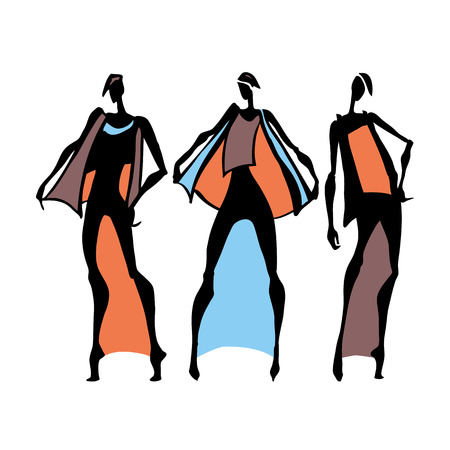 silhouette woman: Beautiful Woman silhouette. Hand drawn fashion illustration. Illustration