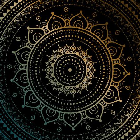Gouden mandala op zwarte achtergrond. Etnische vintage patroon.
