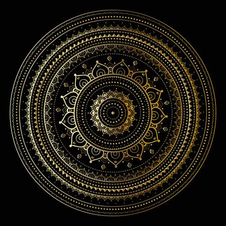 Gold mandala on black background. Ethnic vintage pattern. Иллюстрация