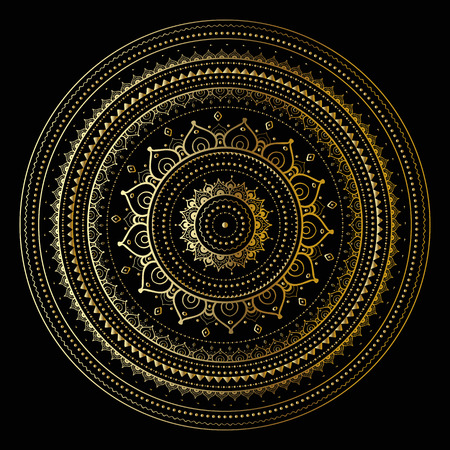 Gold mandala on black background. Ethnic vintage pattern. Stock Illustratie