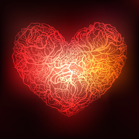 flower petal: Heart of roses. Valentine Greeting card. Hand drawn illustration.