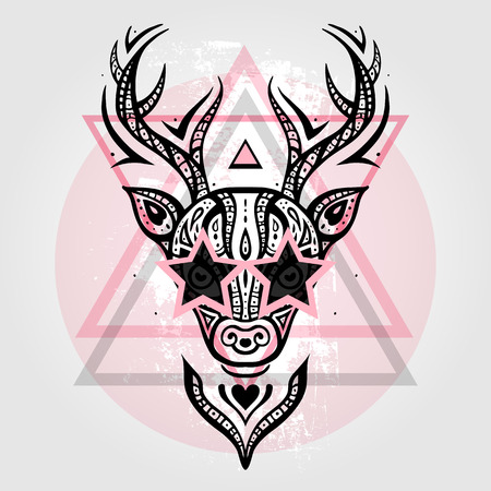 tete de cerf: Deer Head motif tribal. Illustration