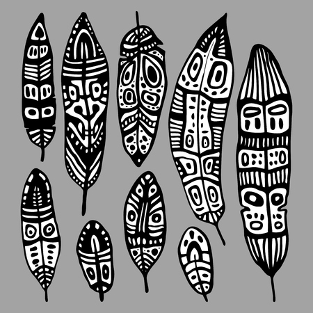 feather vector: Ethnic Feather vector set. Hand drawn illustration.