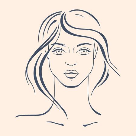 curly hair model: Beautiful Woman Portrait. Hand drawn fashion illustration.