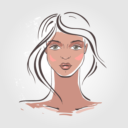 beautiful woman portrait: Beautiful Woman Portrait. Hand drawn fashion illustration.