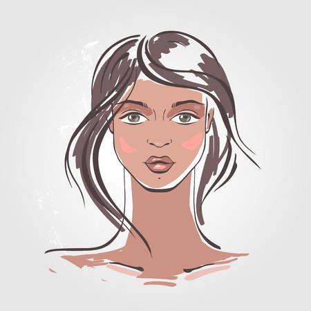 illustrazione moda: Bella Donna Ritratto. Disegnata a mano illustrazione di moda.