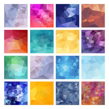 fondo geometrico: Conjunto de fondos abstractos geométricos. Diseño vectorial poligonal