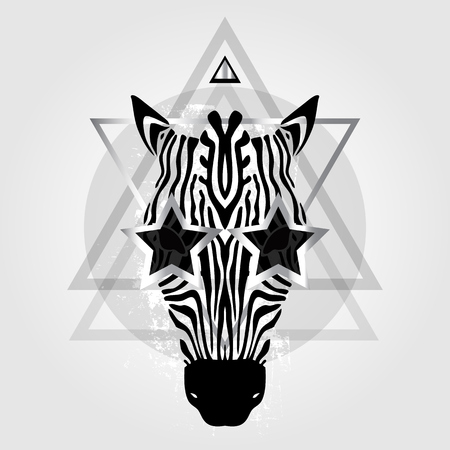 t�te de z�bre: Zebra head Tribal pattern. Abstract style Vector illustration