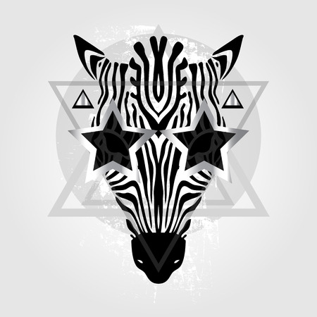 zebra heads: Zebra head Tribal pattern. Abstract style Vector illustration
