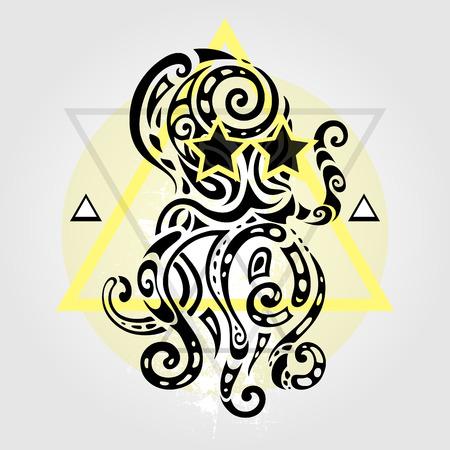 animal print: Pulpo. Patrón tribal. Estilo abstracto ilustración vectorial