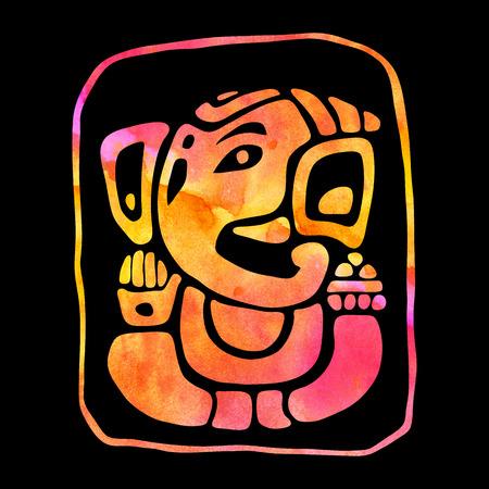 ganapati: Ganapati. Hindu God Ganesha Hand drawn painting Illustration Stock Photo