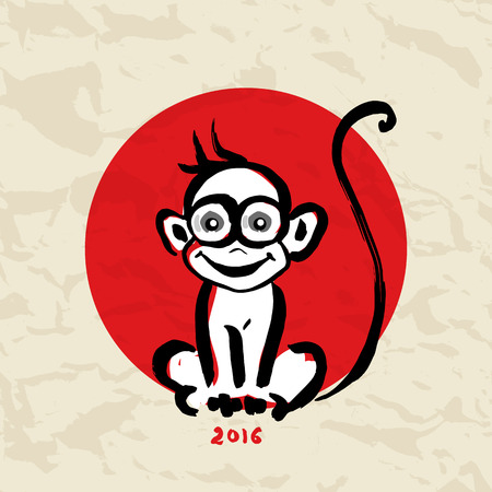 hieroglyph: Monkey. Chinese Animal astrological sign 2016 year, Hand drawn Vector Illustration. Hieroglyph symbol translation Monkey