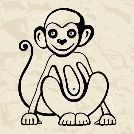 astrological: Monkey. Chinese Animal astrological sign 2016 year, Hand drawn Vector Illustration. Hieroglyph symbol translation Monkey