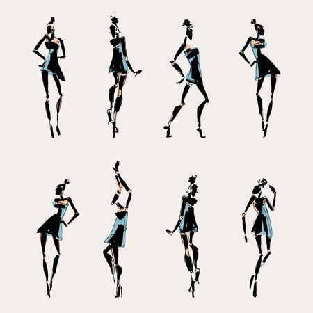 modern dancer: Beautiful Woman silhouette. Hand drawn fashion illustration. Illustration