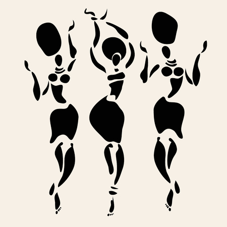 abstract dance: Figures of african dancers. Vector fashion illustration