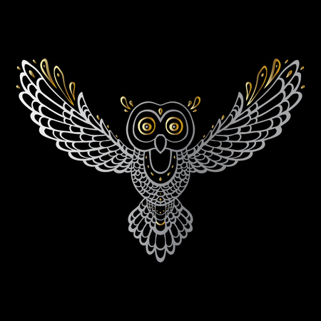 Owl. Tribal pattern. Polynesian tattoo style Vector illustration