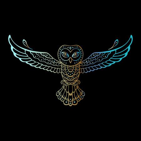 chameleon: Owl. Tribal pattern. Polynesian tattoo style Vector illustration