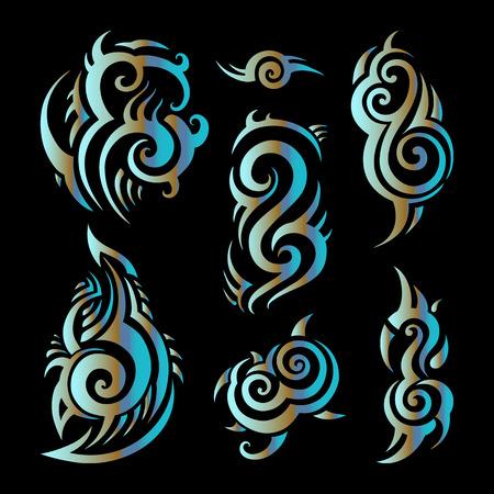 sillouette: Polynesian tattoo. Tribal pattern set Vector illustration.