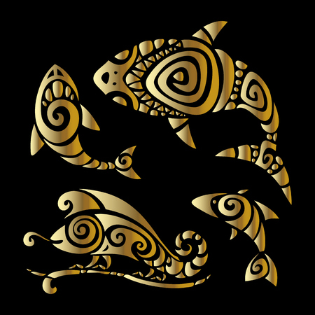 gold swirl: Shark, Fish and Chameleon. Tribal pattern set Polynesian tattoo style. Vector illustration.