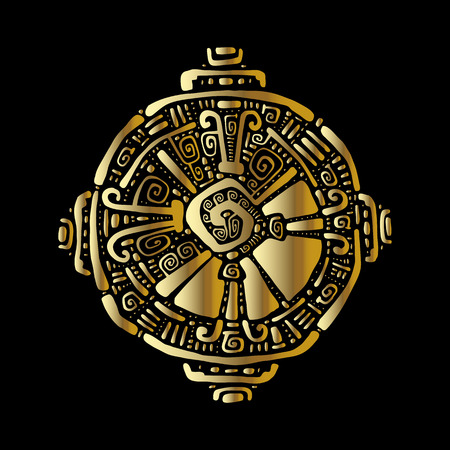 Hunab Ku Mayan symbol. Hand Drawn detailed Vector pattern