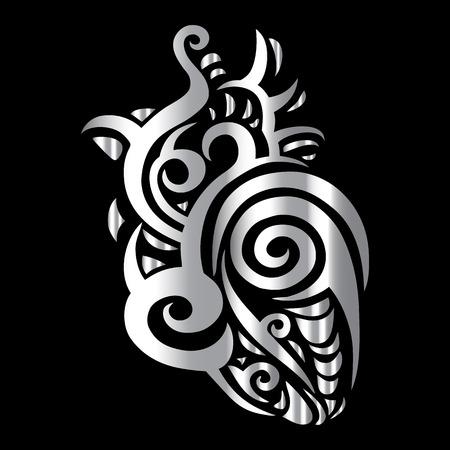 medical heart: Heart Tribal pattern. Abstract style Vector illustration Illustration