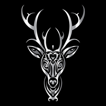 tete de cerf: T�te de cerf. Motif tribal de style de tatouage polyn�sien. Vector illustration. Illustration