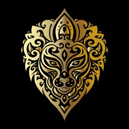 crown of light: Lions head Tribal pattern. Polynesian tattoo style. Vector illustration.