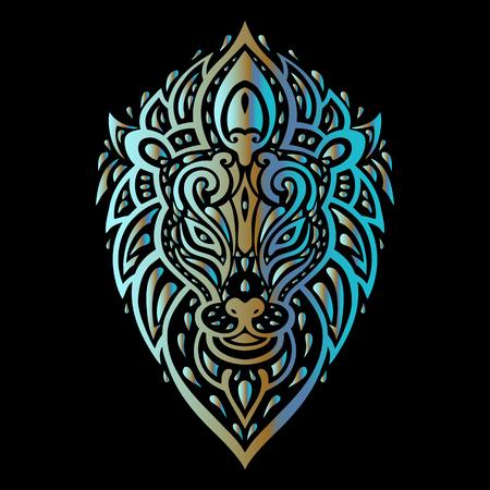 tribales: Lions Head patrón tribal. Estilo del tatuaje polinesio. Ilustración del vector. Vectores