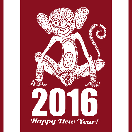 asia: Monkey. Chinese Animal astrological sign 2016 year, Hand drawn Vector Illustration
