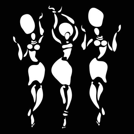 negras africanas: Las figuras de bailarines africanos. Vector ilustración de moda