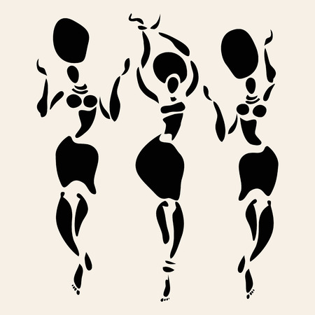 tribal woman: Figures of african dancers. Vector fashion illustration
