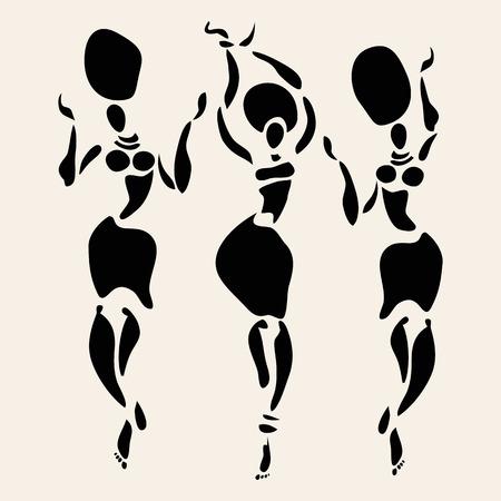 african dance: Figures of african dancers. Vector fashion illustration