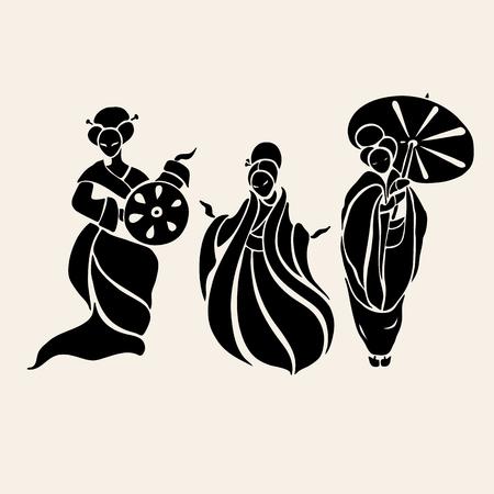 simbolo de la mujer: Mujeres chinas hermosas en estilo �tnico. Ilustraci�n vectorial