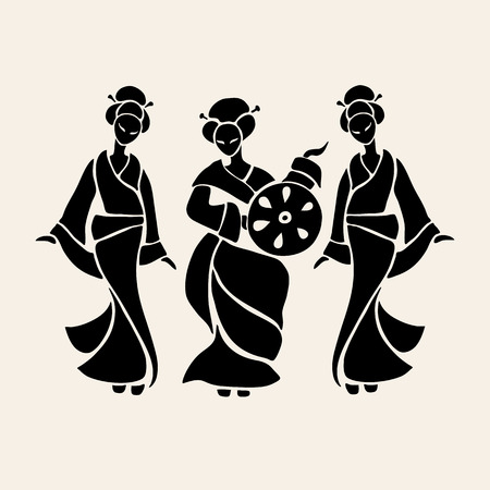 schönheit: Schöne chinesische Frauen in ethnischen Stil. Vector Illustration Illustration