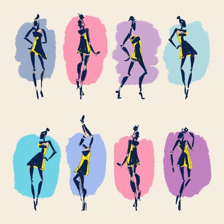 illustrazione moda: Beautiful Woman silhouette. Hand drawn fashion illustration. Vettoriali