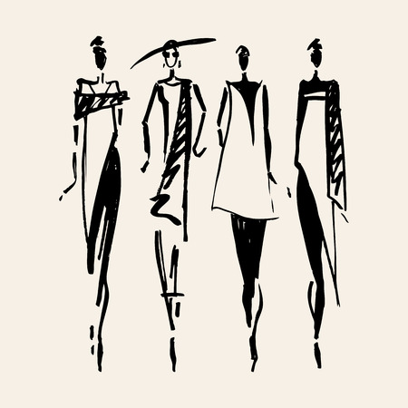 Beautiful Woman silhouette. Hand drawn fashion illustration.  イラスト・ベクター素材