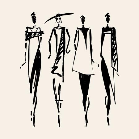 mode: Vacker kvinna silhuett. Handritad modeillustration.